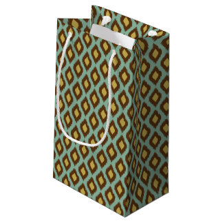 Modern tribal ikat blue yellow modern small gift bag