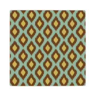 Modern tribal ikat blue yellow modern wood coaster