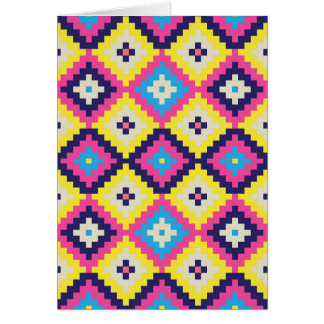 Modern Tribal Pixellated Diamonds Card