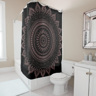 Modern tribal rose gold mandala design shower curtain