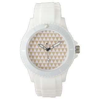 Modern tribal wood geometric chic andes pattern watch