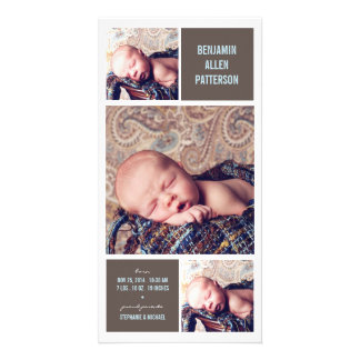 Modern Trio Photo Baby Boy Birth Announcement Custom Photo Card
