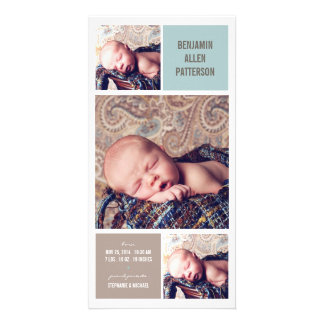 Modern Trio Photo Baby Boy Birth Announcement Customized Photo Card