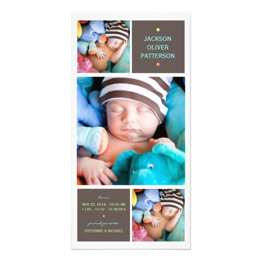 Modern Trio Photo Baby Boy Birth Announcement Picture Card
