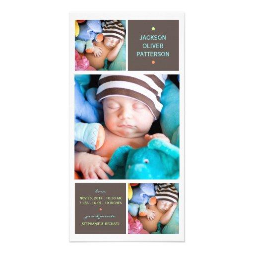Modern Trio Photo Baby Boy Birth Announcement Picture Card