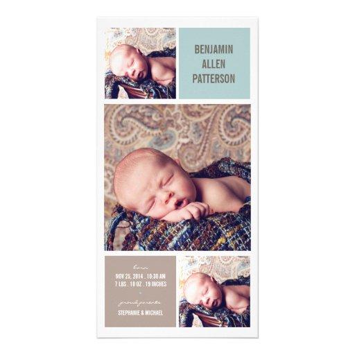 Modern Trio Photo Baby Boy Birth Announcement Photo Greeting Card