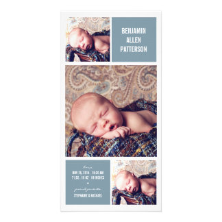 Modern Trio Photo Baby Boy Birth Announcement Photo Card Template
