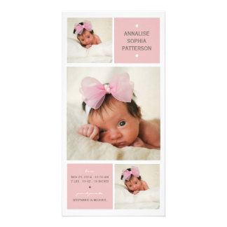 Modern Trio Photo Baby Girl Birth Announcement Card