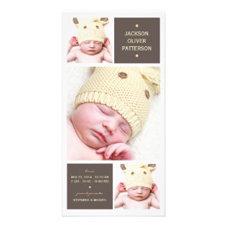 Modern Trio Photo Baby Girl Birth Announcement Card