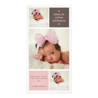 Modern Trio Photo Baby Girl Birth Announcement Photo Greeting Card