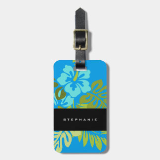 Modern tropical beach hibiscus azure blue luggage tag