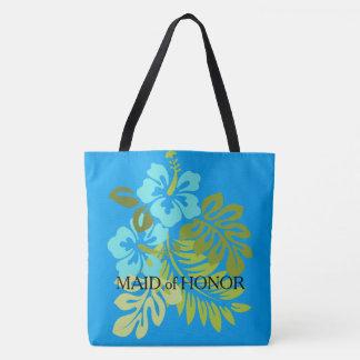 Modern Tropical Beach wedding Maid of honor Tote Bag