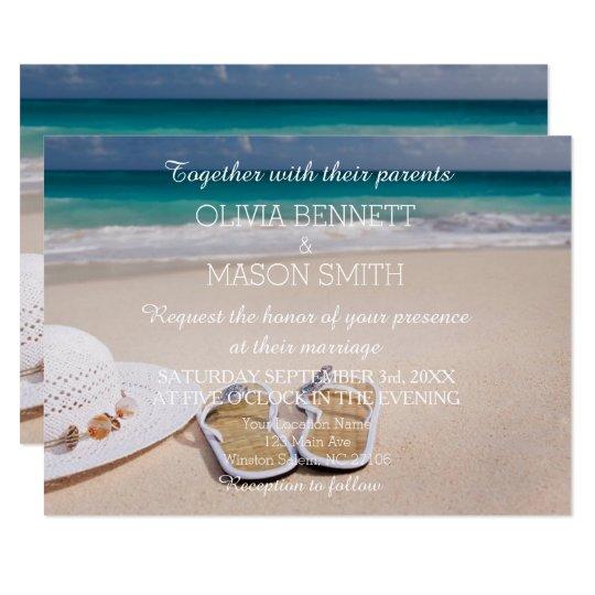 Modern Tropical Destination Beach Sea Wedding Card