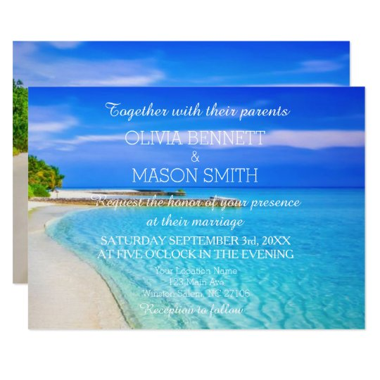 Modern Tropical Destination Beach Sea Wedding Card