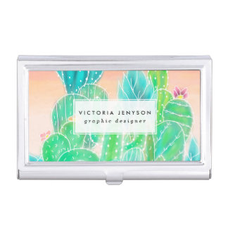 Modern tropical exotic summer cactus watercolor business card holder