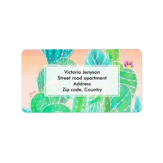 Modern tropical exotic summer cactus watercolor label