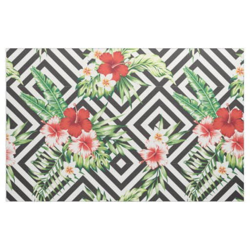 Modern Tropical Flowers With Geometric Pattern Fabric