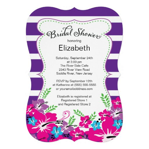 Modern Tropical Hibiscus Flowers Bridal Shower Invitation