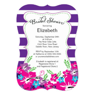 Modern Tropical Hibiscus Flowers Bridal Shower 5x7 Paper Invitation Card
