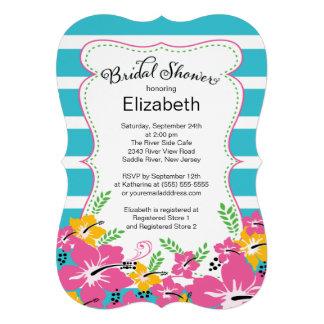 Modern Tropical Hibiscus Flowers Bridal Shower Card