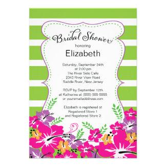 Modern Tropical Hibiscus Flowers Bridal Shower Custom Invites