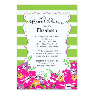 Modern Tropical Hibiscus Flowers Bridal Shower 13 Cm X 18 Cm Invitation Card