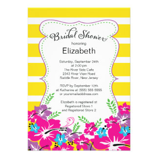 Modern Tropical Hibiscus Flowers Bridal Shower Personalized Invitation