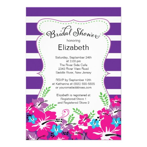 Modern Tropical Hibiscus Flowers Bridal Shower Personalized Invitations