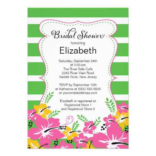 Modern Tropical Hibiscus Flowers Bridal Shower Personalized Announcement