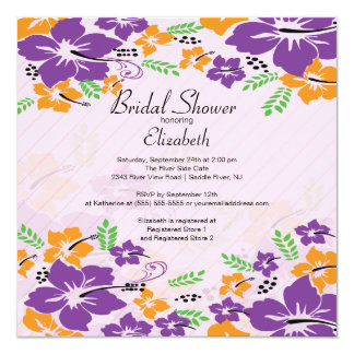 Modern Tropical Hibiscus Flowers Bridal Shower 13 Cm X 13 Cm Square Invitation Card