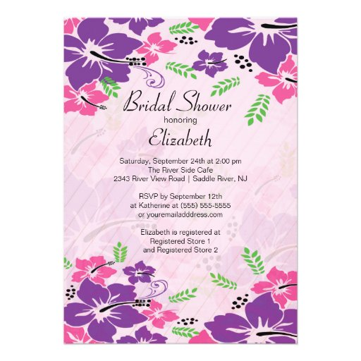 Modern Tropical Hibiscus Flowers Bridal Shower Personalized Invite