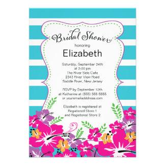 Modern Tropical Hibiscus Flowers Bridal Shower Invite