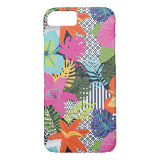 Modern Tropical Hibiscus Palm iPhone Phone Case