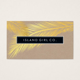 MODERN TROPICAL PALM FRONDS logo trendy gold kraft Business Card
