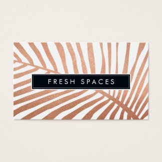 MODERN TROPICAL PALM LEAF logo trendy rose gold Business Card
