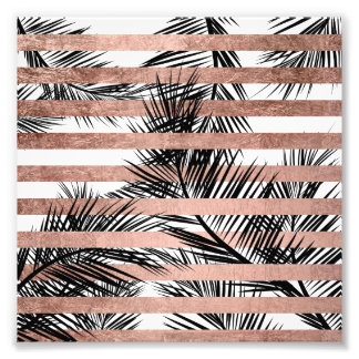 Modern tropical palm trees chic rose gold stripes photo print