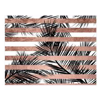 Modern tropical palm trees chic rose gold stripes postcard