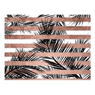 Modern tropical palm trees chic rose gold stripes postcard