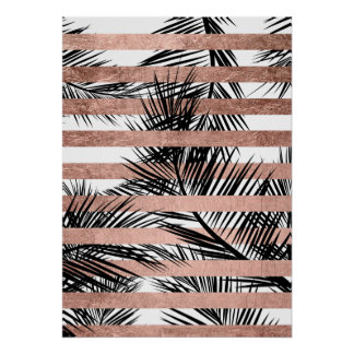 Modern tropical palm trees chic rose gold stripes poster