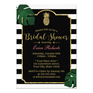 Modern Tropical Pineapple Hawaiian Bridal Shower 13 Cm X 18 Cm Invitation Card