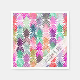 Modern tropical pineapples pastel watercolor paper napkins