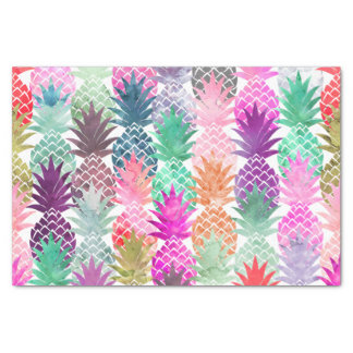 Modern tropical pineapples pastel watercolor tissue paper