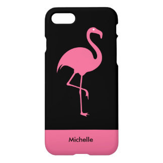 Modern Tropical Pink Flamingo Monogram iPhone 8/7 Case