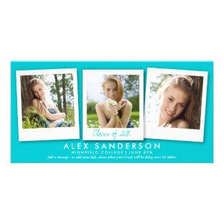 Modern Turquoise 3 Photo Graduation Announcement Photo Card