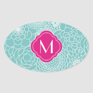Modern Turquoise abstract flowers with Monogram Oval Sticker