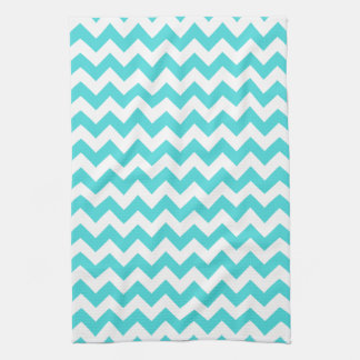 Modern Turquoise and White Chevron Zigzag Pattern Tea Towel