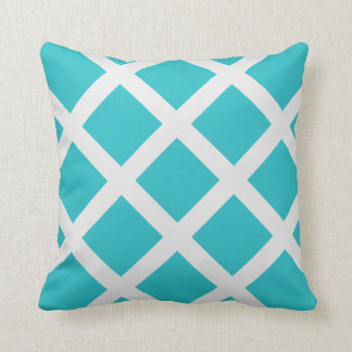 Modern Turquoise and White Criss Cross Stripes Throw Pillows