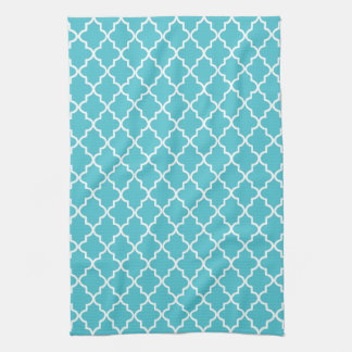 Modern Turquoise and White Moroccan Quatrefoil Tea Towel