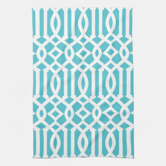 Modern Turquoise and White Trellis Pattern Tea Towel