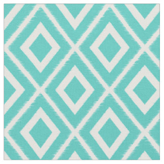 Modern Turquoise Blue Ikat Pattern Fabric